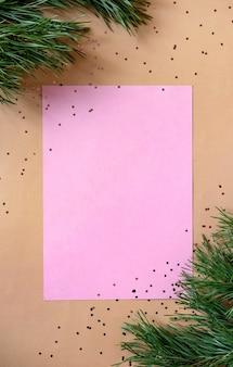 Lege kerstgroet card. nieuwjaar plat lag, bovenaanzicht, kopie ruimte.