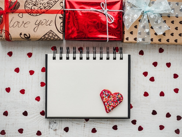 Lege kladblokpagina voor zoete woorden over liefde