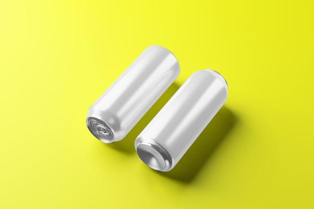 Lege koude aluminium bierblikje met druppels, 3d-rendering