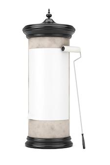 Lege lege cilindrische reclamezuil billboard mockup met vrije ruimte voor uw ontwerp met lijmborstel op een witte achtergrond. 3d-rendering