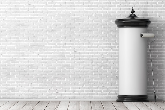 Lege lege cilindrische reclamezuil billboard mockup met vrije ruimte voor uw ontwerp met lijmborstel voor bakstenen muur. 3d-rendering