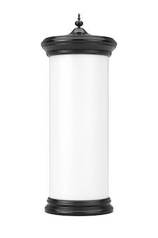Lege lege cilindrische reclamezuil billboard mockup met vrije ruimte voor uw ontwerp op een witte achtergrond. 3d-rendering