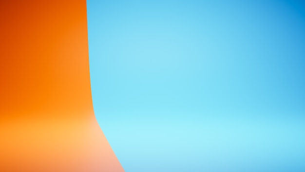 Lege lege oranje en blauwe studio