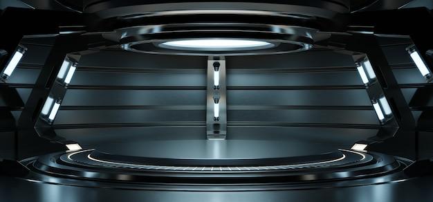Lege lichtblauwe studio kamer futuristische sci fi grote hal kamer met licht blauw