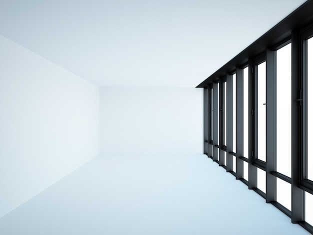 Lege loft interieur met groot panoramisch raam