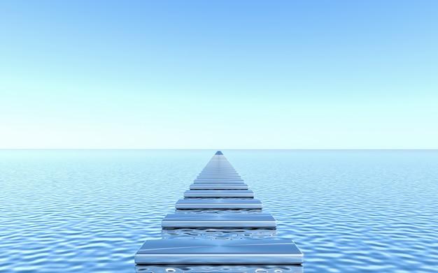 Lege loopbrugplaat op waterachtergrond. abstracte minimale geometrische. 3d-rendering