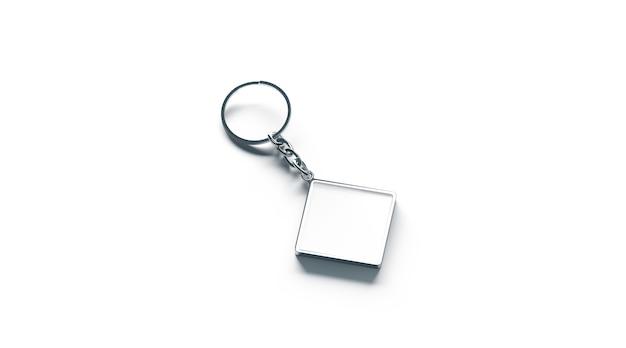Lege metalen ruit witte sleutelhanger mock up zijaanzicht