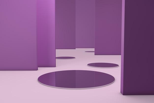 Lege minimale ruimte met geometrische vormen en lege muren om producten in te voegen