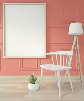Lege moderne eigentijdse kamer en design muur met lijstwerk, mock up posterframe en stoel