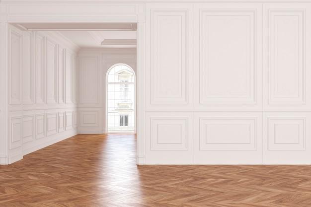 Lege moderne klassieke witte interieur kamer. 3d render illustratie.