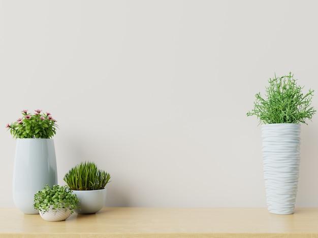 Lege muur met planten
