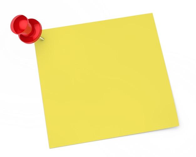 Lege nota met een punaise