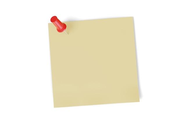 Lege nota vastgemaakt met een speld op wit wordt geïsoleerd.
