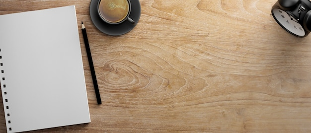 Lege notebook en potlood op houten tafel met koffiekopje en klok 3d-rendering 3d illustratie bovenaanzicht top