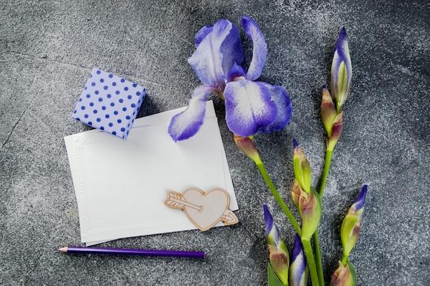Lege notitie, violet iris en geschenkdoos op grijs