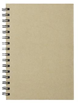 Lege notitieboekjedekking die op witte achtergrond met het knippen van weg wordt geïsoleerd