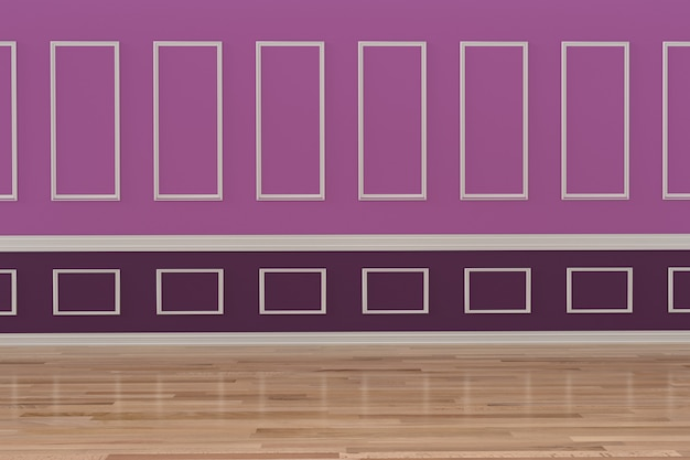 Lege paarse kamer design interieur in 3d-rendering