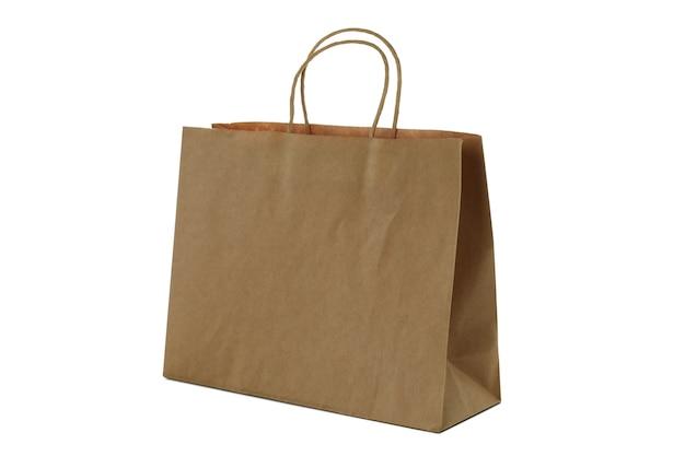 Lege papieren zak geïsoleerd op een witte achtergrond