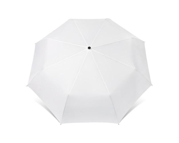 Lege paraplu die op witte achtergrond wordt geïsoleerd.