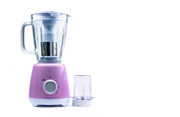Lege pastel paarse elektrische blender met filter, gehard glazen kan, droge molen en snelheidskeuzeschakelaar