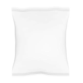 Lege plastic zak snack verpakking op een witte achtergrond. 3d-rendering