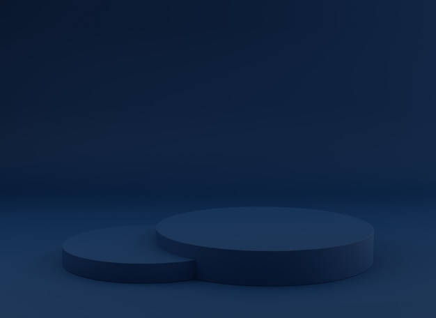 Lege podium studio blauwe achtergrond voor productvertoning.