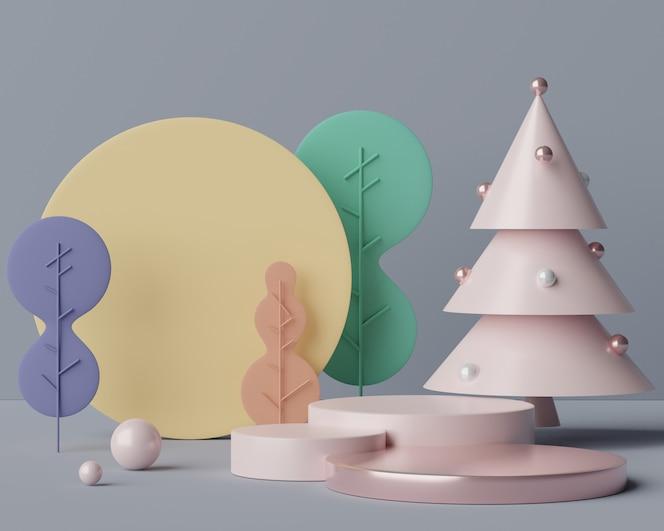 Lege podiumscène met geometrische vormen voor cosmetische en productvertoning.