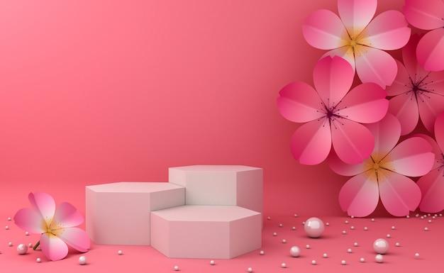 Lege podiumvitrine voor cosmetische productpresentatie. 3d-rendering