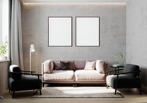 Lege posterframes bespotten in lichtgrijs kamerinterieur, 3d-rendering