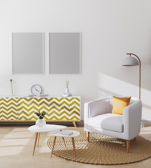 Lege posterframes in stijlvolle scandinavische woonkamer interieur van modern appartement met witte fauteuil en gele kussen, salontafel en kasten, woonkamer mockup, 3d-rendering