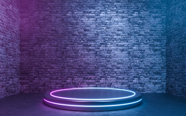 Lege productstandaard met neonlichten op bakstenen muurachtergrond. 3d-rendering