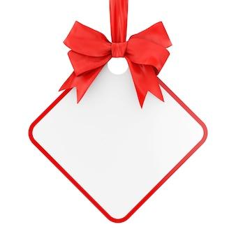 Lege rechthoekige verkoop tag met rood lint en boog op een witte achtergrond. 3d-rendering