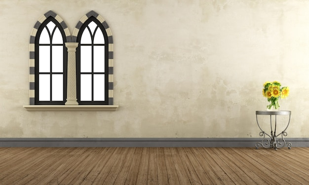 Lege retro kamer met gotische ramen en salontafel met zonnebloemen. 3d-weergave