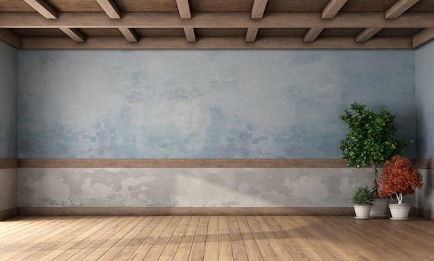 Lege retro kamer met oude muren en houten plafond