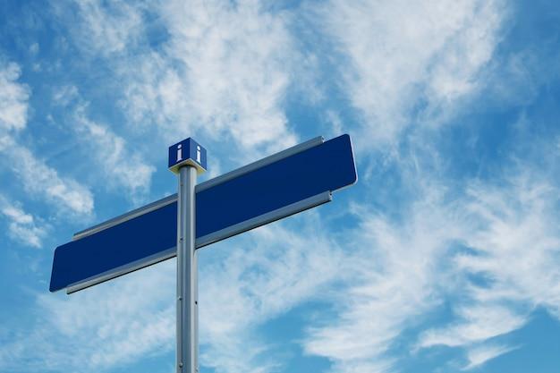 Lege richtingverkeersteken over blauwe hemel met wolken.