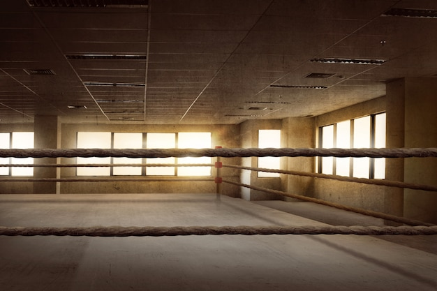 Lege ring boxing arena voor training