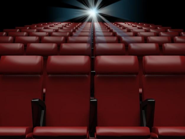 Lege rode stoelen in bioscoopweergave