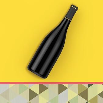 Lege rode wijnfles met vrije ruimte voor jou ontwerp op een gele achtergrond. 3d-rendering
