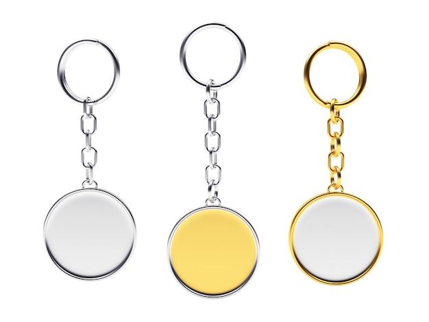 Lege ronde gouden en zilveren sleutelhangers met sleutelringen