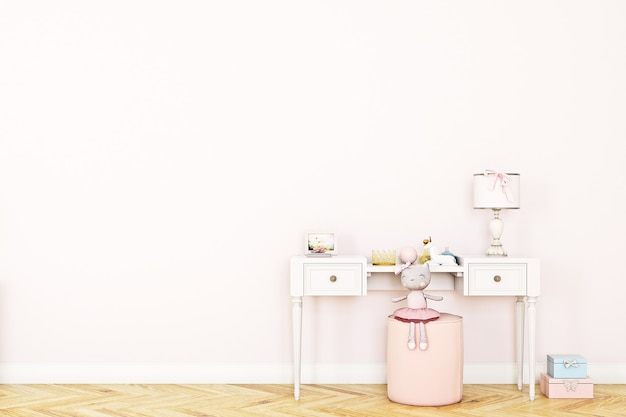 Lege roze muur in kinderkamer