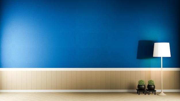 Lege ruimte blauw donker op houten vloer interieur. 3d-rendering