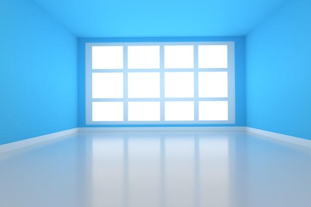 Lege ruimte in blauw met licht van venster in 3d-rendering