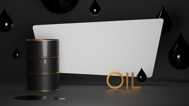 Lege ruimte in de buurt van olievat en druppels met gouden letters olie