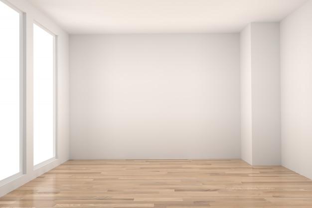 Lege ruimte in houten vloer met licht interieur in 3d-rendering