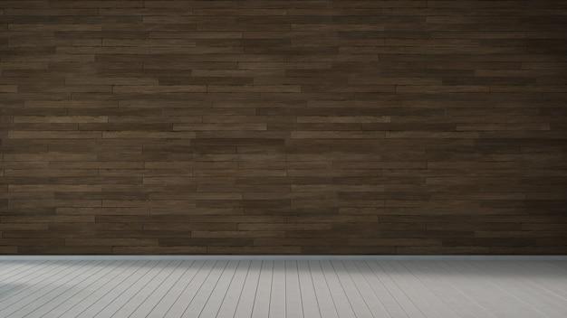 Lege ruimte interieur, houten vloer en bruine muur. 3d-weergave.