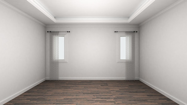 Lege ruimte interieur klassieke stijl. 3d-weergave
