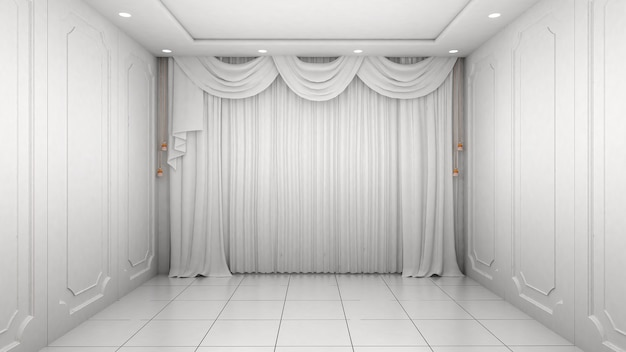 Lege ruimte interieur witte muur moderne en luxe stijl.