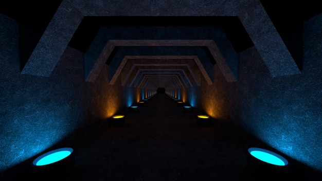 Lege ruimte met betonnen muren en lampen op de muren die zacht diffuus licht verspreiden