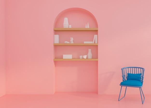 Lege ruimte met boekenrek en fauteuil