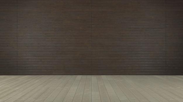 Lege ruimte met bruine houten muur. realistisch interieur met vloer en muur van natuurlijke donkere houten planken. 3d-weergave.